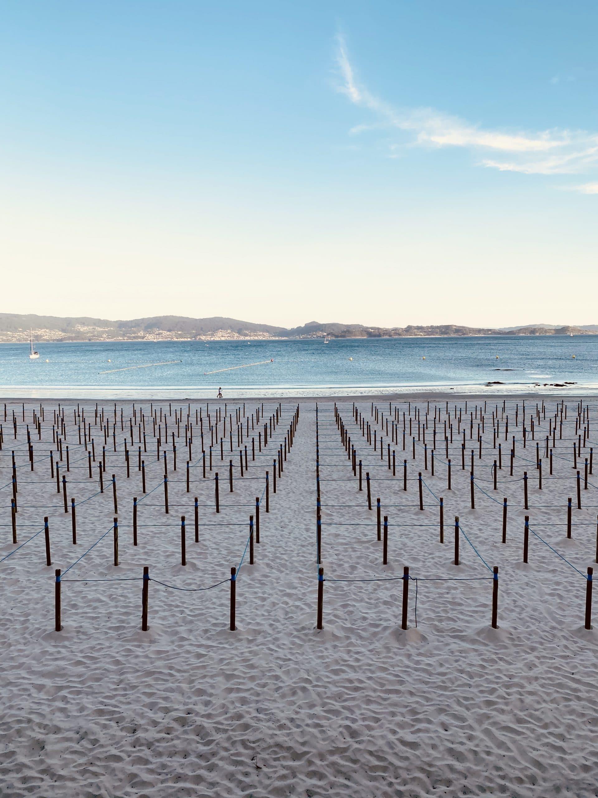 Playa del Silgar en Sanxenxo Galicia, 2020 Coronavirus