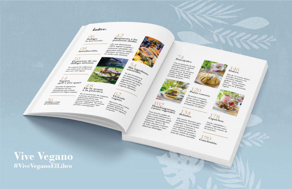 Índice del libro Vive Vegano, idea de regalo sostenible para ese amigo invisible concienciado con mejorar sus hábitos e impacto sobre la naturaleza