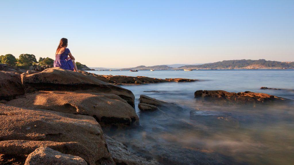 Fotografías de chica en las Rías Baixas
